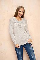 Вязаный женский бежевый свитер Лада ТМ Arizzo 46-48 размеры