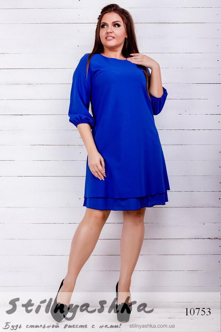 Легкое шифоновое платье для полных индиго, фото 1