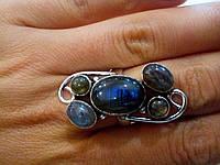 Великолепное кольцо с камнем лабрадор в серебре.Кольцо с лабрадором.Индия!