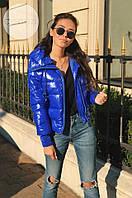 Женская стильная куртка Moncler синего цвета