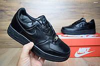 Подростковые зимние кроссовки+Air Force черные кожа с мехом