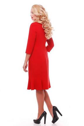 Женское модное платье с перфорацией Анюта цвет красный размер 52-58 / большие размеры , фото 2