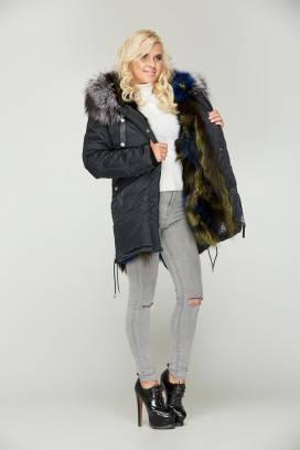 Зимняя черная куртка-парка с натуральным мехом чернобурки, фото 2