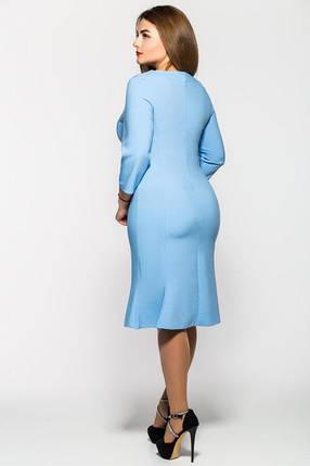 Женское модное платье с перфорацией Анюта цвет голубой размер 52-58 / большие размеры , фото 2