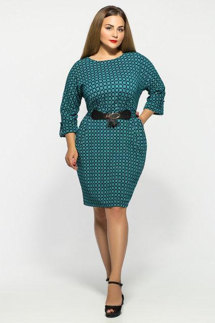 Женское нарядное коктейльное платье Тэйлор цвет бирюза размер 52-58 / большие размеры