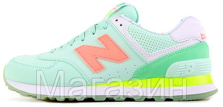 Женские кроссовки New Balance 574 Нью Баланс 574 зеленые, фото 2
