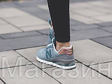 Женские кроссовки New Balance 574, Нью Баланс 574 голубые, фото 2