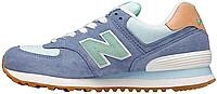 Женские кроссовки New Balance 574, Нью Беланс 574 синие с мятным