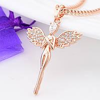 Кулон Ангел Хранитель 31460, размер 37*24 мм, белые фианиты, позолота РО