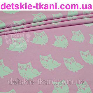 Ткань с белыми совами на розовом фоне (№64)