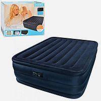 Двухспальная велюр кровать INTEX 66718 со встроенным насосом 203*152*56 см