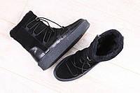 Женские ботинки, зимние, на меху, комбинированные: натуральная замша и кожа, на толстой подошве