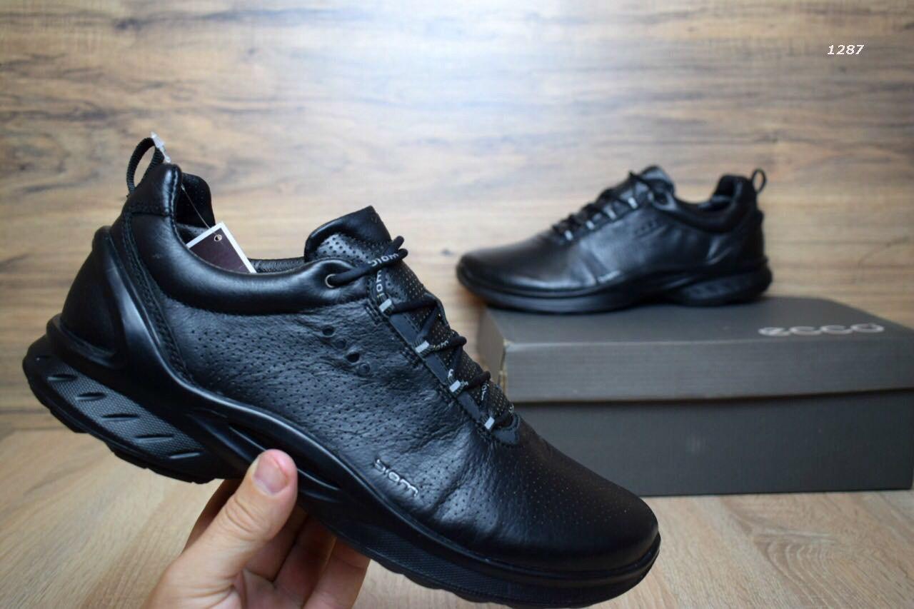 Мужские туфли+кроссовки в стиле ECCO BIOM кожаные черные на черной подошве 07126a7c88001
