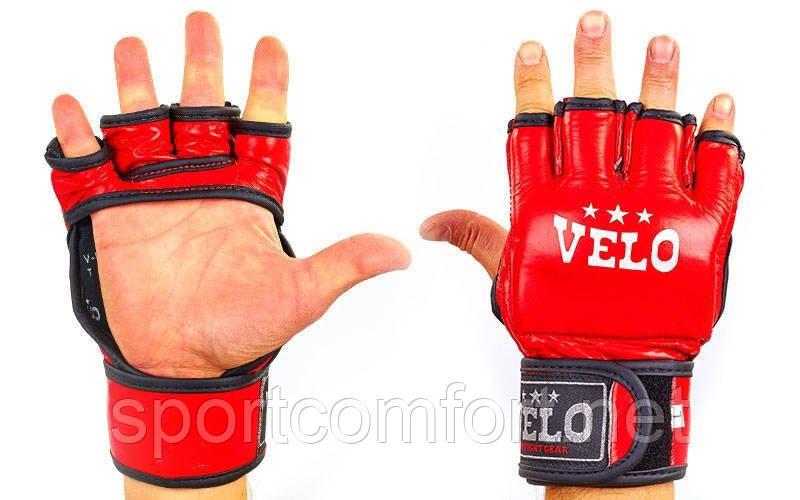 Перчатки для миксфайта Velo кожаные красные