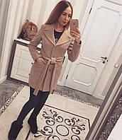 Женское короткое пальто кашемир на поясе (разные цвета)