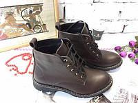 Женские зимние ботинки на шнурках натуральная кожа, овчина