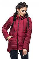 Стильная демисезонная куртка-парка из качественной плотной ткани сливового цвета