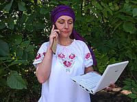 "Женская нарядная вышитая блузка вышиванка украинская ""Гжель"""