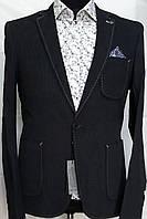Мужской пиджак чёрно-синего цвета с накладными карманами Paul Dias