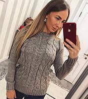 """Свитер модный """"Косы"""" - цвет мокко"""
