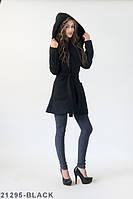 Жіноче кашемірове чорне пальто з капюшоном Orana