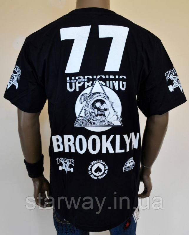 Футболка черная Thrasher brooklyn 77 logo