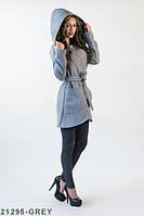 Жіноче кашемірове сіре пальто з капюшоном Orana