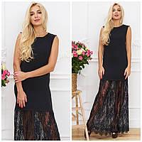 Красивое длинное черное платье в пол с кружевом