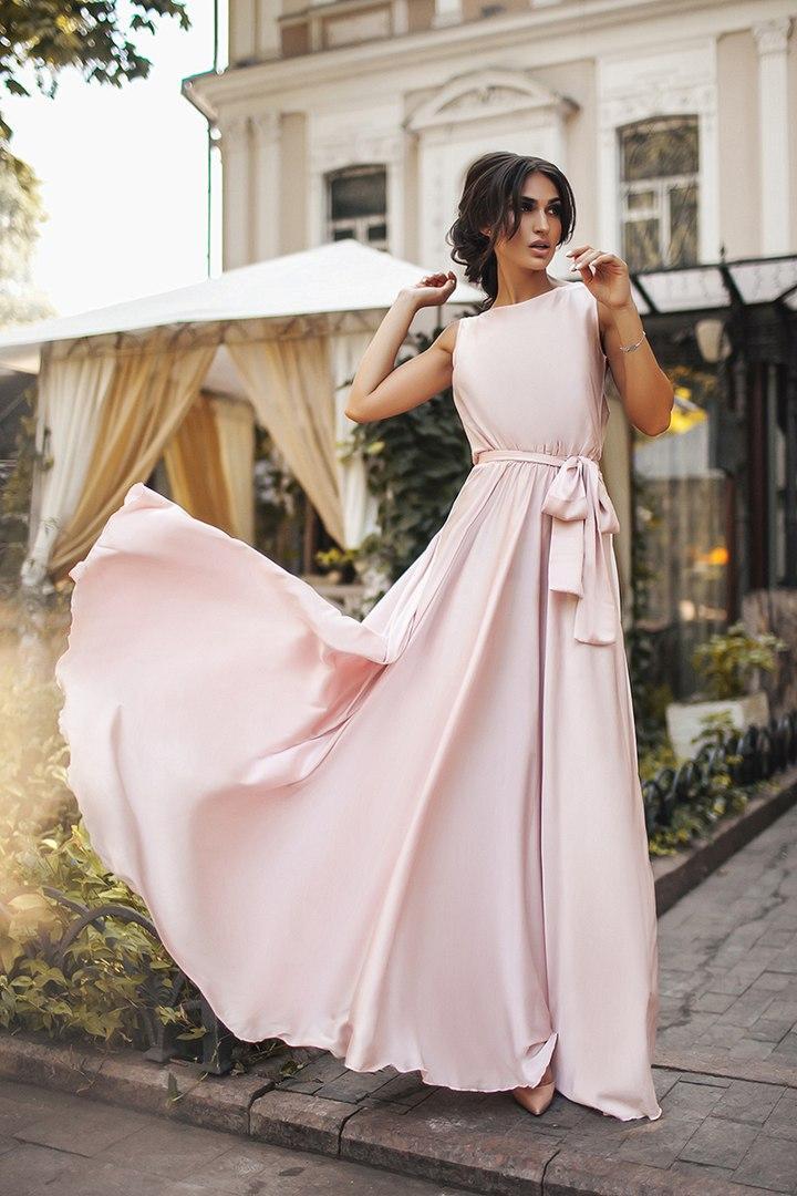 2a20410f8a0 Вечернее красивое платье пудровой расцветки - Интернет-магазин