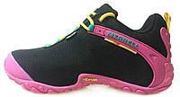 Женские кроссовки Merrell Gore-Tex Black Pink Меррел черные с розовым