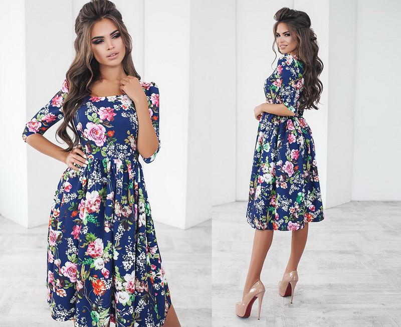 Женское платье-татьянка по колено с рукавом три четверти с принтом  +цвета