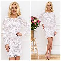 Гипюровое белое короткое платье с длинным рукавом