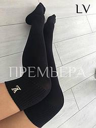 Женские хлопковые гетры (ботфорты) черного цвета с эмблемой