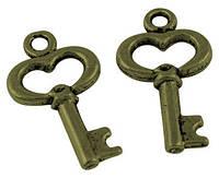 Кулон Ключ, Металл, Цвет: Бронза, Размер: 15х9х2мм, Отверстие 1мм, (УТ000000386)