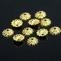 Шапочки из Латуни, для Бусин, Цветок, Цвет: Золото, Размер: 7х2мм, Отверстие 1мм, около 27шт/3г, (УТ100007537)