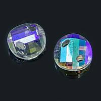 Коннектор Стекло, Граненый, Сердце, с Гальваникой, 2 отверстия, Цвет: Бесцветный, Размер: 18х7мм, Отверстие 2.5x4.5мм, (УТ100007908)