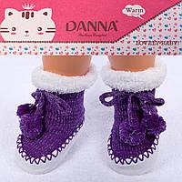 Пинетки для новорожденных фиолетовые с люрексом Djan F12-4 6-12