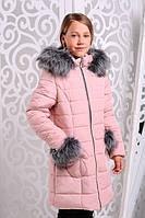 Красивая зимняя курточка для девочки Розетта розовая
