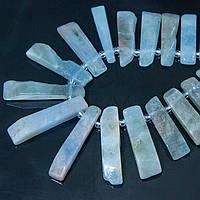 Бусины Натуральный Аквамарин, На нитях, Прямоугольные, Цвет: Аквамарин, Размер: 16~35x5~8x4~5мм, Отверстие 1мм, около 49шт/нить, (УТ100008072)