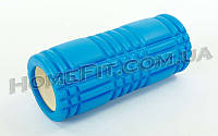 Массажный роллер, ролик, валик Grid Roller 33 см для самомассажа Синий
