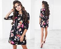 Красивое короткое женское платье с принтом с рукавом три четверти   +цвета