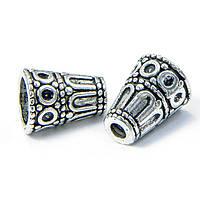 Конус Шапочки для Бусин, Металлические, Цвет: Античное Серебро, Размер: 15х12мм, Отверстие 3~8мм, (УТ100007997)