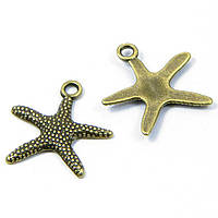 Кулон Морская Звезда, Металл, Цвет: Бронза, Размер: 19.5x19x2мм, Отверстие 2мм, (УТ100008152)