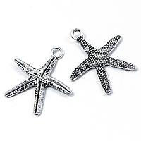 Кулон Морская Звезда, Металл, Цвет: Античное Серебро, Размер: 26x22x2мм, Отверстие 2мм, (УТ100008153)