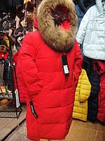 Пуховик зима женский с натуральным мехом р.S-2XL (42-50)