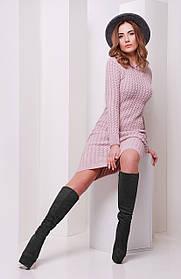 Платье вязаное цвета пудра размер универсальный 42-46