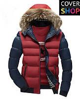 Мужская куртка Winter Style, бордовая с темно-синим, материал-полиестер, утеплитель - синтепон 150
