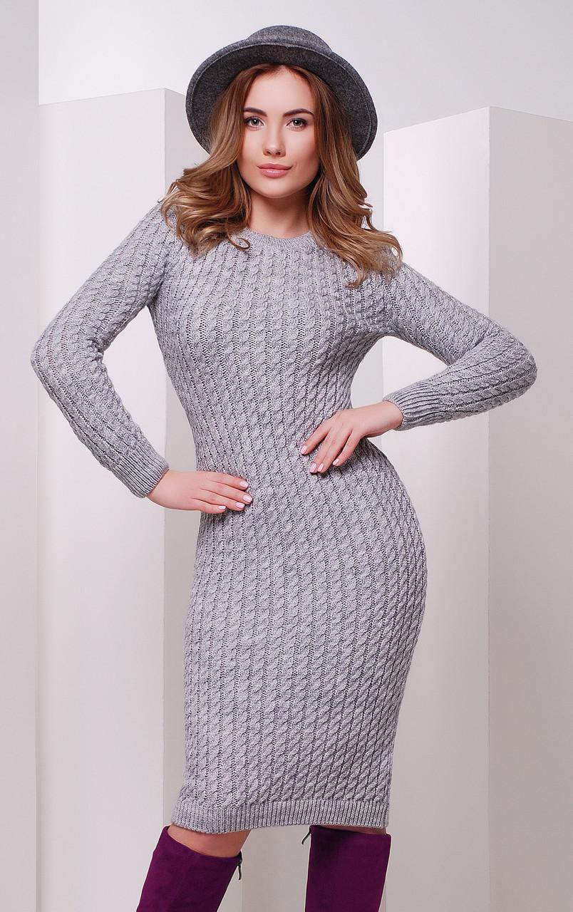 Плаття в'язане темно-сірого кольору розмір єдиного 42-46