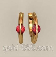Стильные золотые сережки 585  пробы с яркими Фианитами, цена 4 650 ... fc7ff4092cc