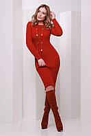 Женское вязаное платье терракотового цвета